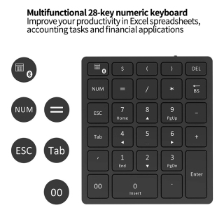 PC Wireless Bluetooth Numeric Keyboard 28 Key Multiple Shortcut Led Number Pad Tablet Rechargeable for Laptop Desktop thumbnail