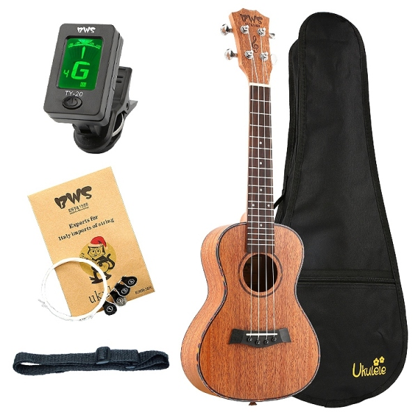 Bws Est&1988 Concert Ukulele 23 Inch Mahogany Wood Acoustic Cutaway Guitar Hawaii 4 String Guita for Beginner