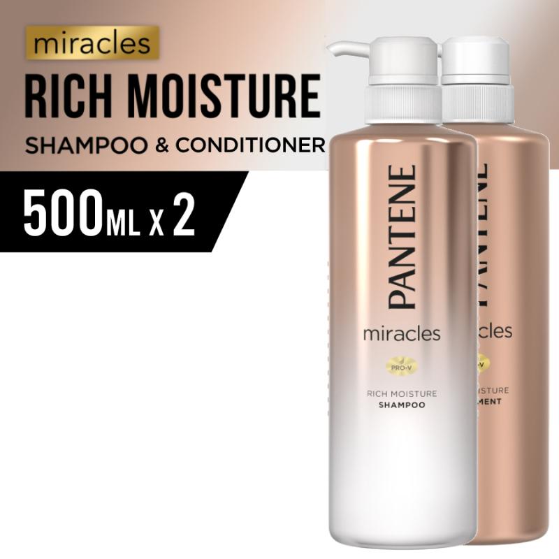 Buy [Bundle of 2] Pantene Miracles Rich Moisture Shampoo 500ml + Conditioner 500ml Singapore