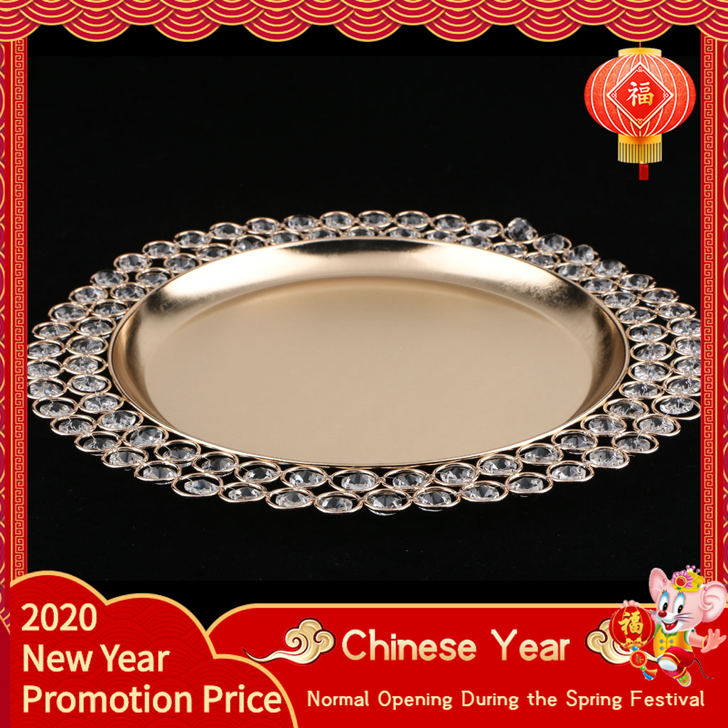 predolo 33cm Crystal Ring Holder Storage Jewelry Plate Fruit Plate Home Decor