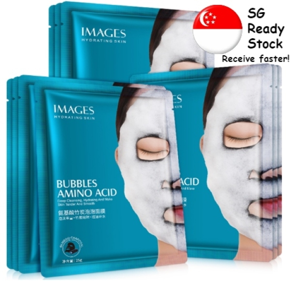 Buy Ready Stock in SG | IMAGES Whitening Bamboo Charcoal Facial Bubble Mask [10 Pieces] Singapore