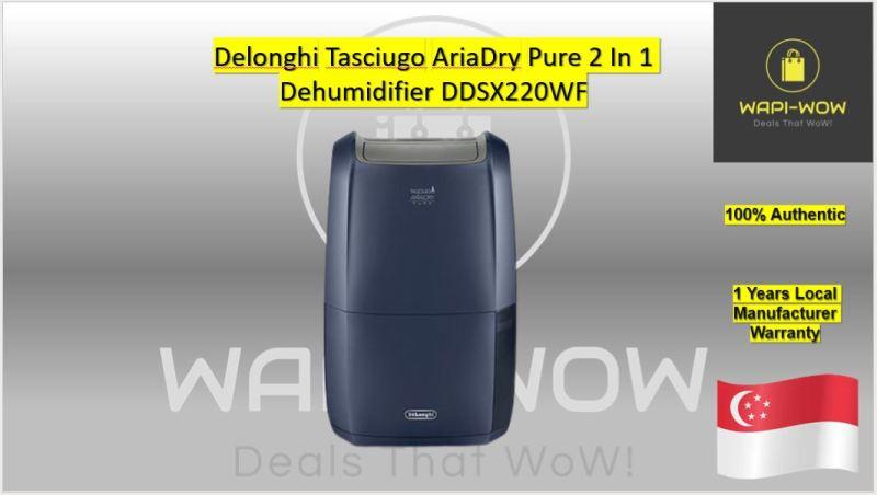 Delonghi Tasciugo AriaDry Pure 2 In 1 Dehumidifier DDSX220WF Singapore