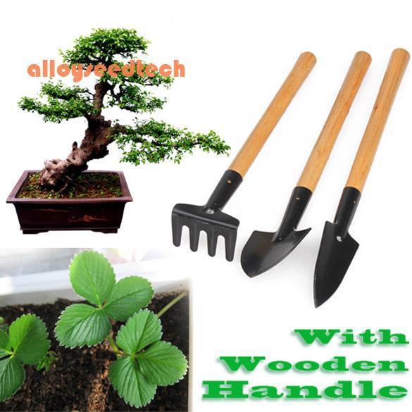 〔alloyseedtech〕3pcs Mini Garden Plant Tool Set With Wooden Handle Gardening Tool Shovel Rake