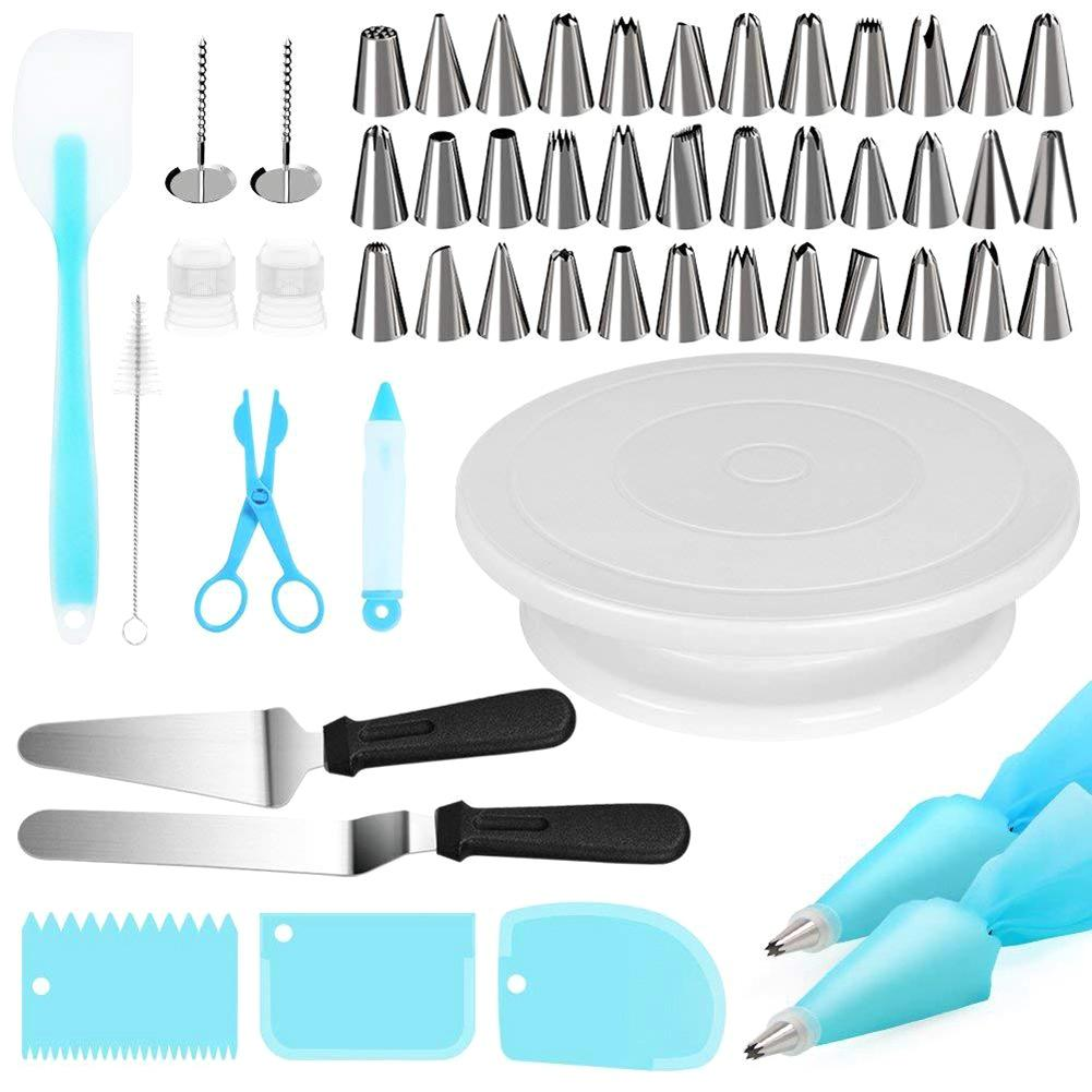 52 Pcs/Set Cake Decorating Tools Turntable Piping Tip Nozzle Set Cake Baking Tools Accessories