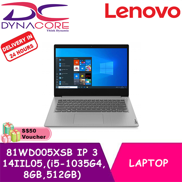 【DELIVERY IN 24 HOURS】 DYNACORE - LENOVO IDEAPAD 3 14IIL05 81WD005XSB 14IN INTEL CORE I5-1035G4 8GB 512GB SSD WIN 10