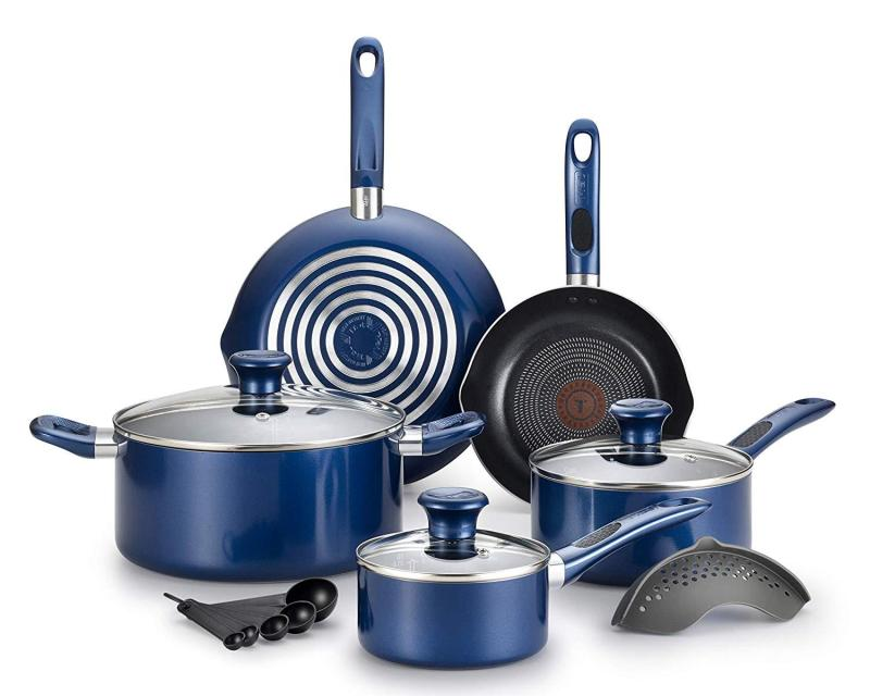 T-fal Excite ProGlide Nonstick Thermo-Spot Heat Indicator Dishwasher Oven Safe Cookware Set, 14pc Blue (Will arrive in 7-15 working days)(SG Seller) Singapore