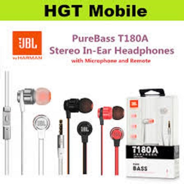 JBL T180A PURE BASS MICROPHONE   JBL T180A In-Ear Stereo Earphones 3.5mm Wired Sport Gaming Headset Pure Bass Earbuds Handsfree With microphone Singapore