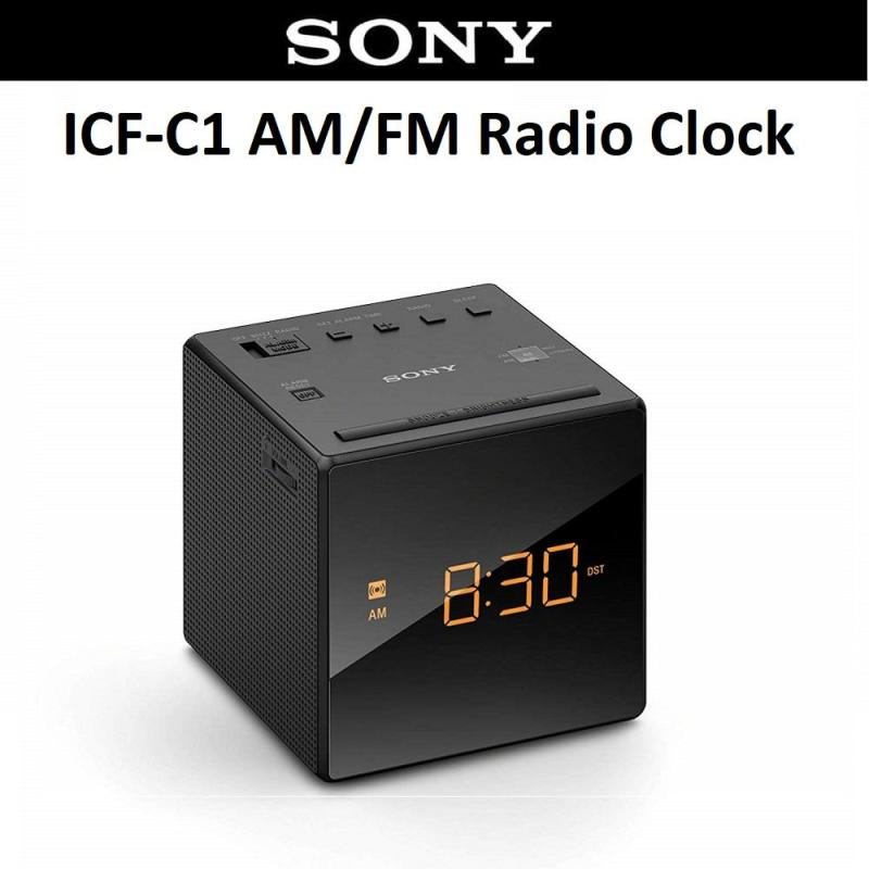 Sony ICF-C1 Portable AM/FM Radio Clock Alarm Speaker with Earphone Jack Singapore