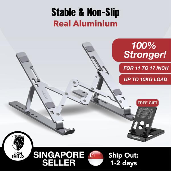 [SG] KAKU Portable Aluminium Laptop Stand (11-17 inch, Silver) – Adjustable and Foldable