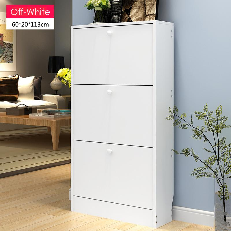 Fold-Out Wooden 3 Door Shoe Cabinet