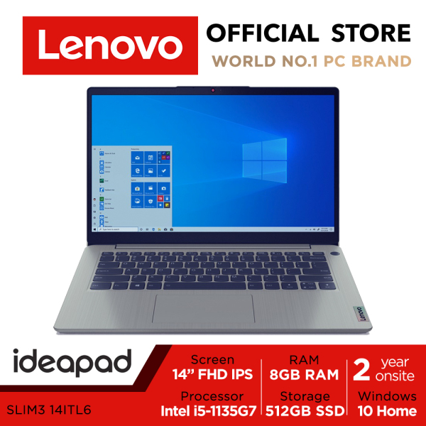 [THE LATEST]Lenovo ideaPad 3i Version 2021 82H7001CSB | Slim Deisgn, 4sides Narrow Bezel | 14inch FHD IPS 300nits |  i5-1135G7 | 8GB RAM | 512GB SSD | Iris Xe | only 1.5Kg | 2 Years Lenovo onsite warranty