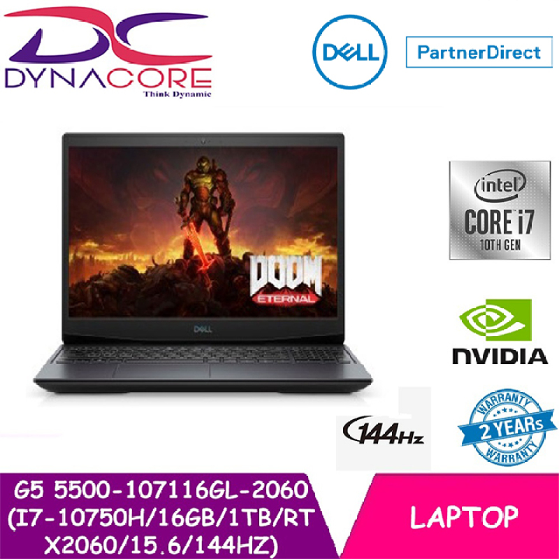 【DELIVERY IN 24 HOURS】DYNACORE - DELL G5 5500-107116GL-2060 (i7-10750H   16GB   1TB   RTX2060   15.6   144Hz) 5500-107116GL 2YS WARRANTY BY DELL