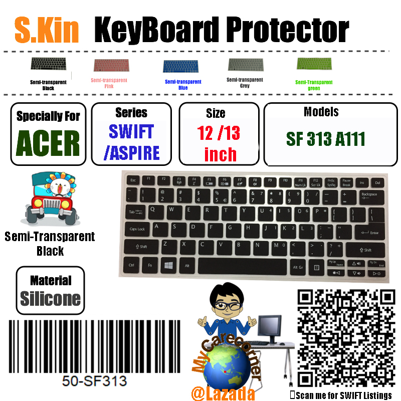 S.kin Acer 13 Inch 2020 Swift 3 Sf313 11 Inch Aspire A111 Notebook Pc Acer Silicone Keyboard Protector Cover Skin Laptop Membrane Protective Film ( 50-Sf313 ) Mycarecorner Local Delivery.