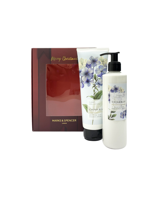 Buy M&S China Blue Shower & Lotion Set Singapore