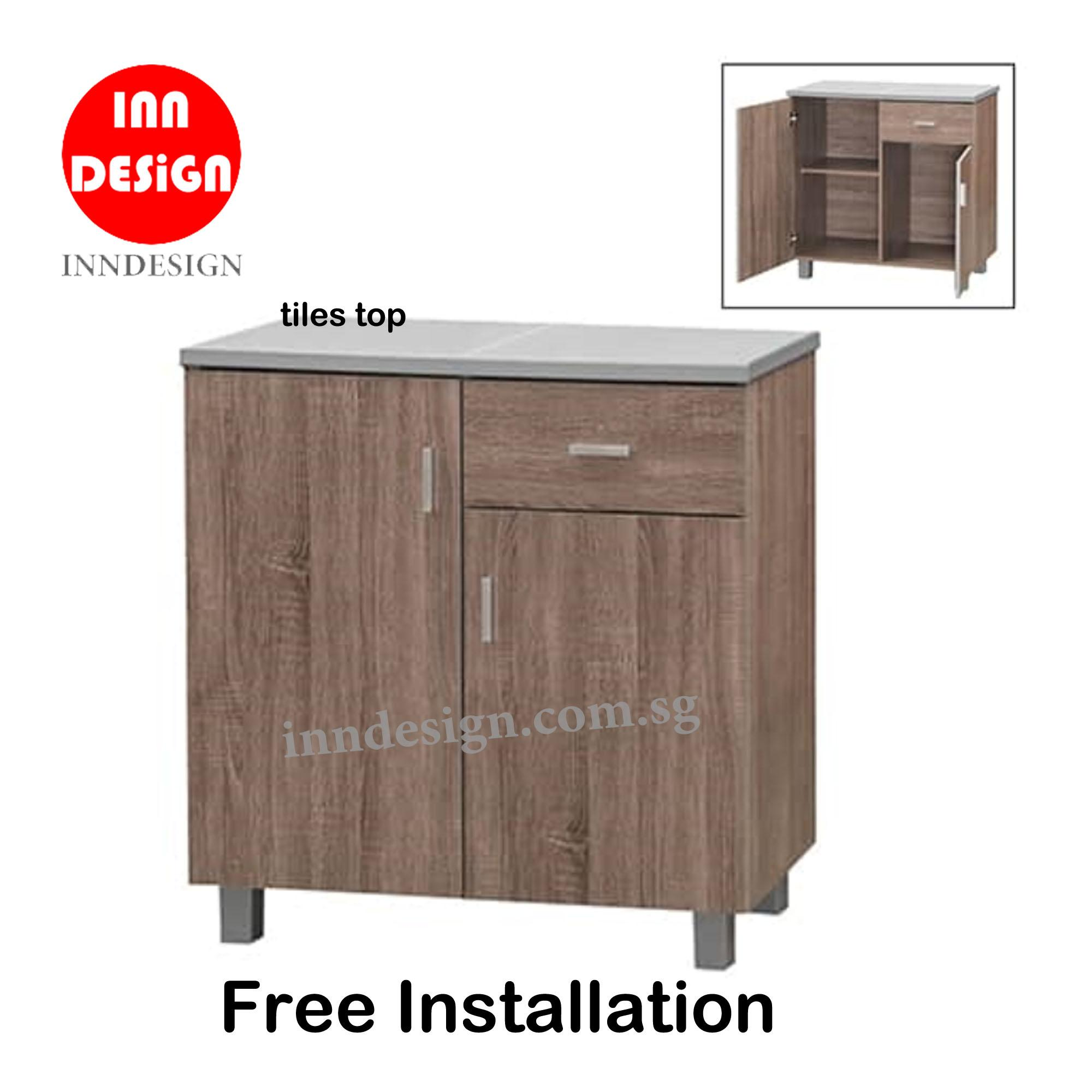 Dew 2 Doors Kitchen Cabinet With Tiles Top (Free Delivery and Installation)