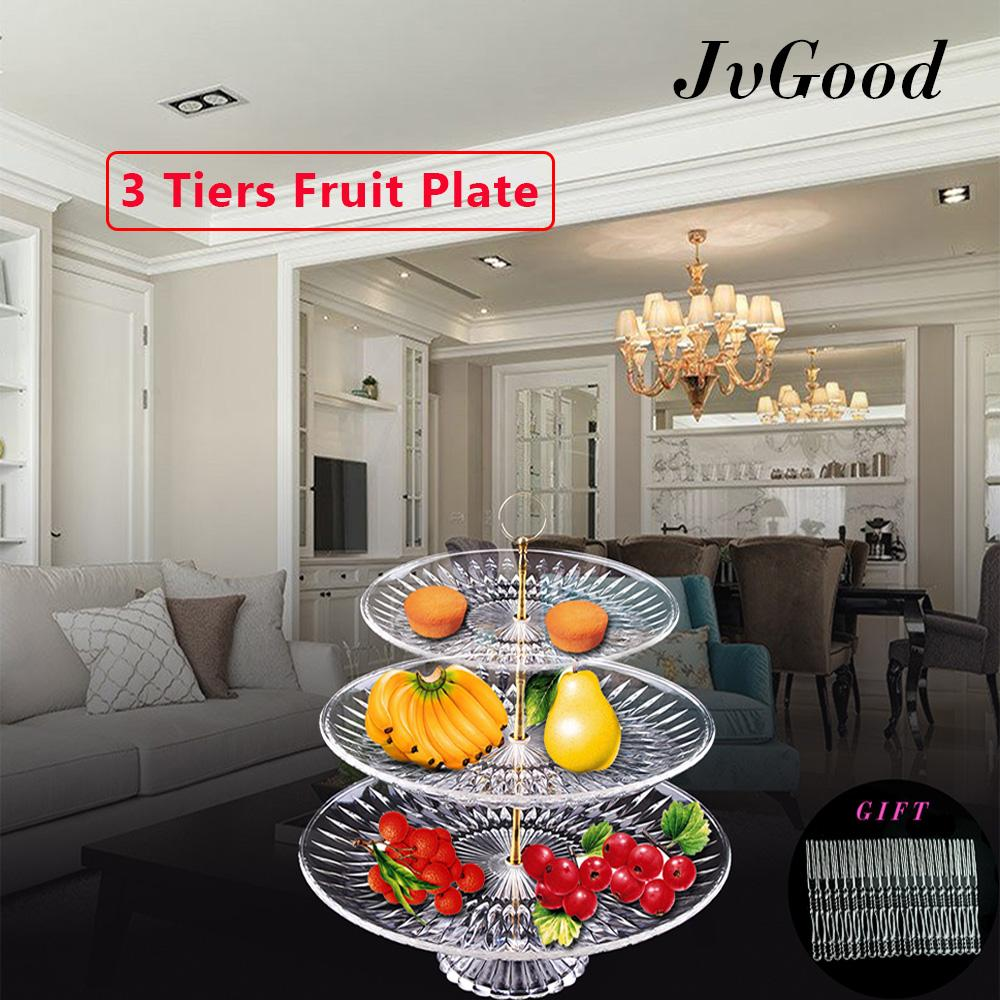 Jvgood Fruit Plate 3 Tier Acrylic Plate For Fruits Cakes Desserts Candy Buffet Stand For Home & Party With Free 50pcs Fruit Forks By Jvgood.