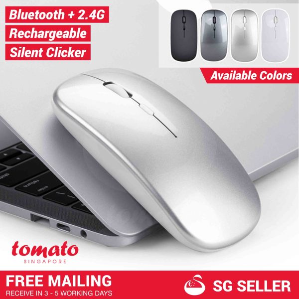 [SHIP FROM SG] Silent Bluetooth Rechargeable 2.4G Mouse with DPI 800/1200/1600