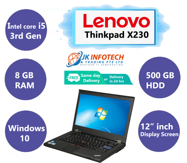 [Same Day Delivery or within 24 hrs Delivery] LENOVO THINKPAD X230 (Refurbished) | intel core i5-3rd Gen  | 8GB RAM | 500GB HDD | 12 inch Display Screen | Windows 10 | Ms office