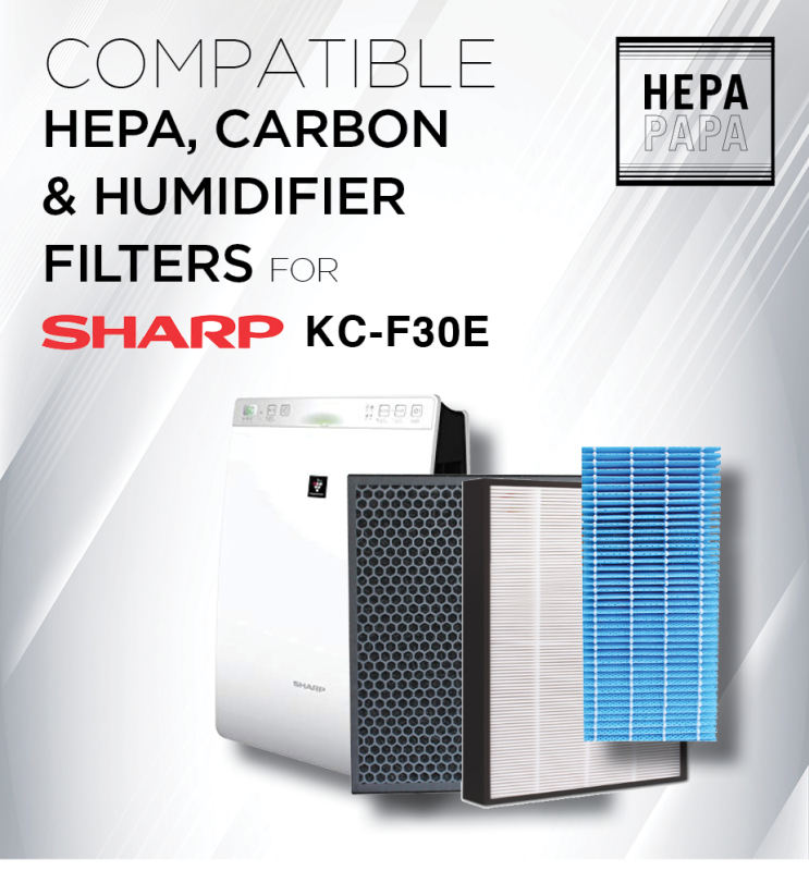 Sharp KC-F30E - FZ-F30HFE / FZ-F30DFE / FZ-F30MFE Compatible Replacement Filters [Free Alcohol Swab] [SG Seller] [7 Days Warranty] [HEPAPAPA] Singapore