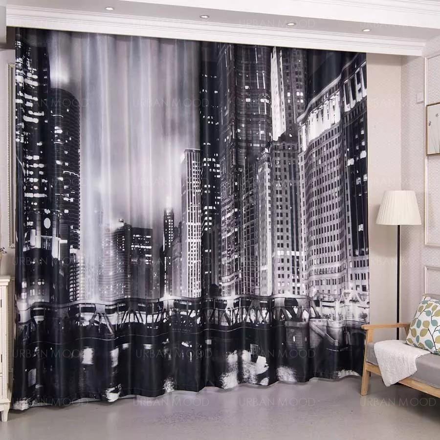 NIGHT SKYLINE Modern Studio Curtains