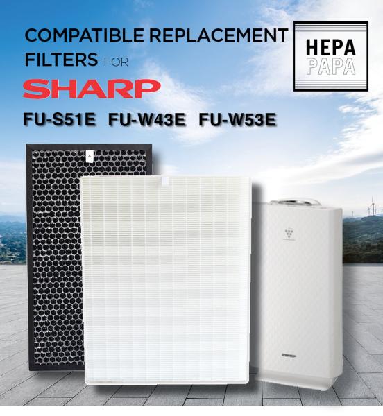 Sharp FU-S51E / FU-W43E / FU-W53E / FU-S40E Compatible HEPA & Carbon Filters[Free Alcohol Swab] [SG Seller] [7 Days Warranty] [HEPAPAPA] Singapore