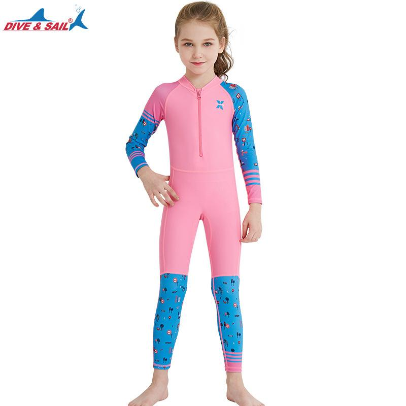 4375a975cdc9d Victory New Fashion Girls Swimwear Sports Outdoors Clothing Children  Wetsuit Siamese swimwear Quick drying Long sleeved