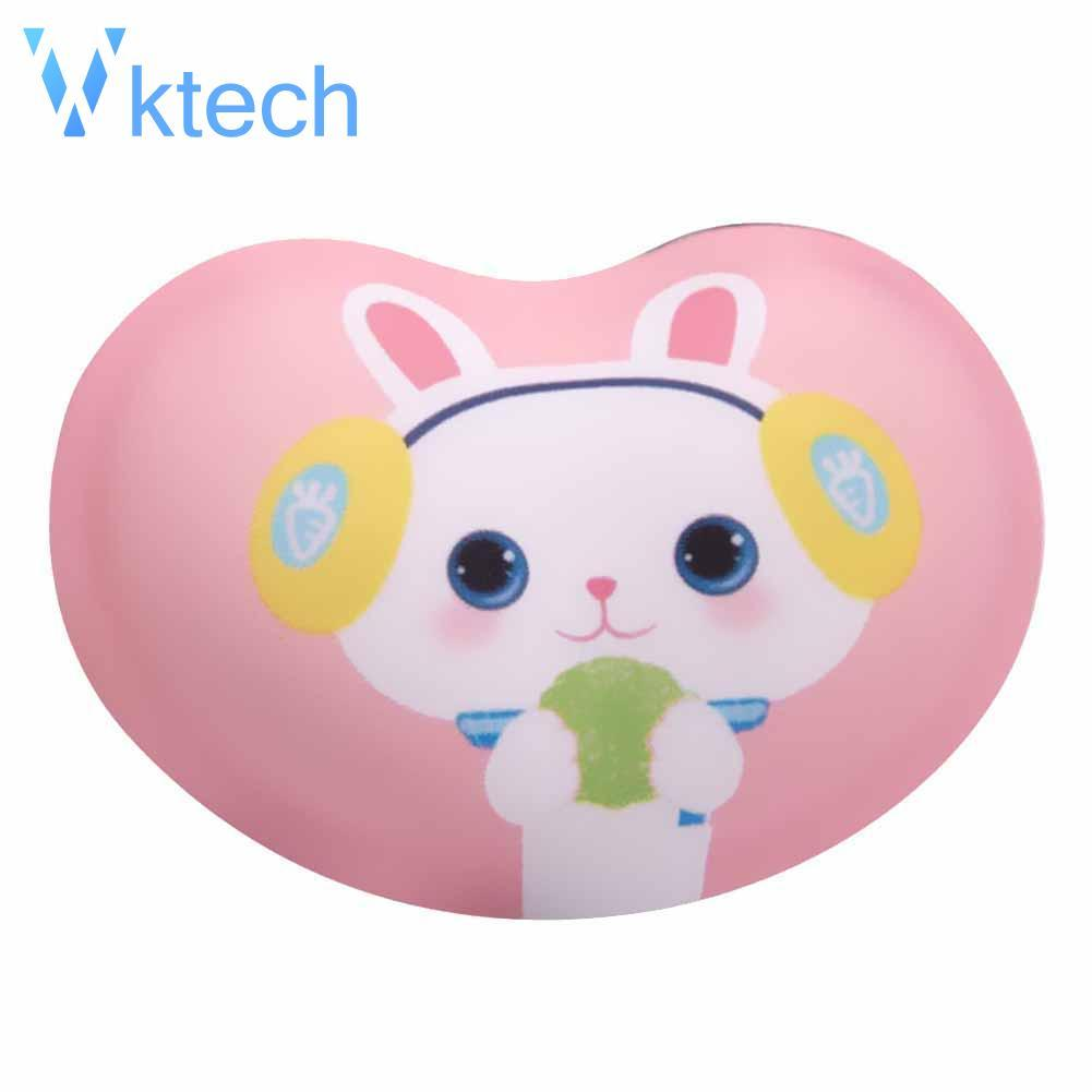[Vktech] Heart Shape Cartoon Animal Printed Fabric Silicone Wrist Rest Mouse Pad Mat