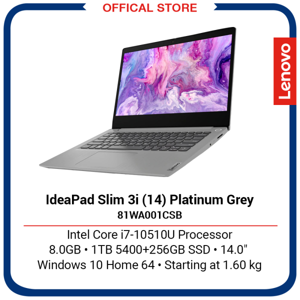 Lenovo IdeaPad Slim 3i (14) | Intel Core i7-10510U Processor | 8GB | 1TB 5400+256GB SSD | Platinum Grey | 2Y Premium Care Warranty