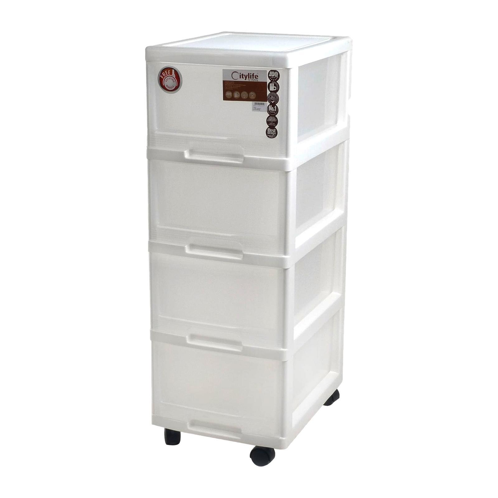 CITYLIFE 4 Tier Storage Cabinet With Wheels