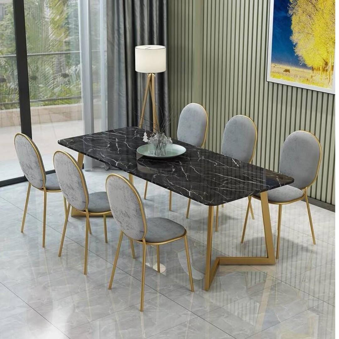 TMDT 08 Marble Dining Table - L140xW70xH75cm,Black color top