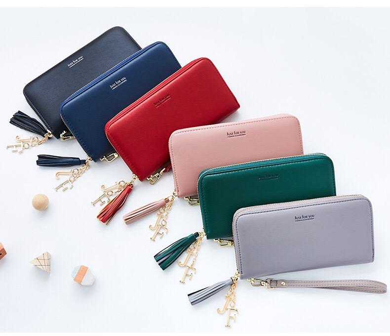 [SG Seller] Women  Zipper Long Wallet Coin Purse ID Card Holder Mobile Phone Clutch