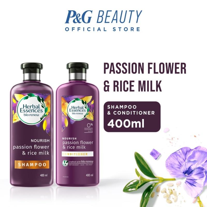 Buy [Bundle of 2] Herbal Essences Nourish Passion Flower & Rice Milk Shampoo 400ml + Conditioner 400ml Singapore