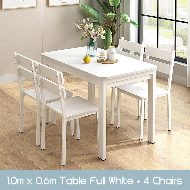GJ Wooden Dining Table and Chairs set splash proof easy clean scandinavian modern stylish classy man woman family home owner living room HDB black white