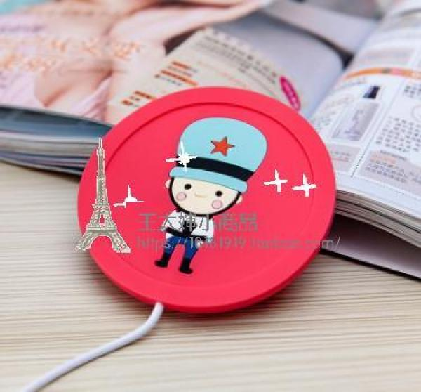 Cartoon Creative Incense Inserted Silica Gel Insulated Coaster Heating Coaster Constant Temperature Heating Cup Milk Heater Warm Cup of the Vacuum Dish