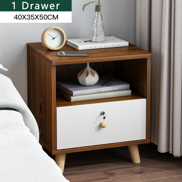 Bedside Table with Drawer Lock Cabinet Bedroom Storage Zen Design Walnut White Coffee Color 1 2 3 Drawers Free Installation [3 Weeks Delivery]