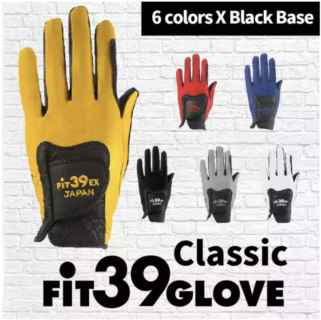 [fit39] Classic Golf Glove Left Hand 6 Colors X Black Base, Non Slip, Stretchable, Durable, Washable, Antimicrobial, Speedy Dry,japans Top Seller.