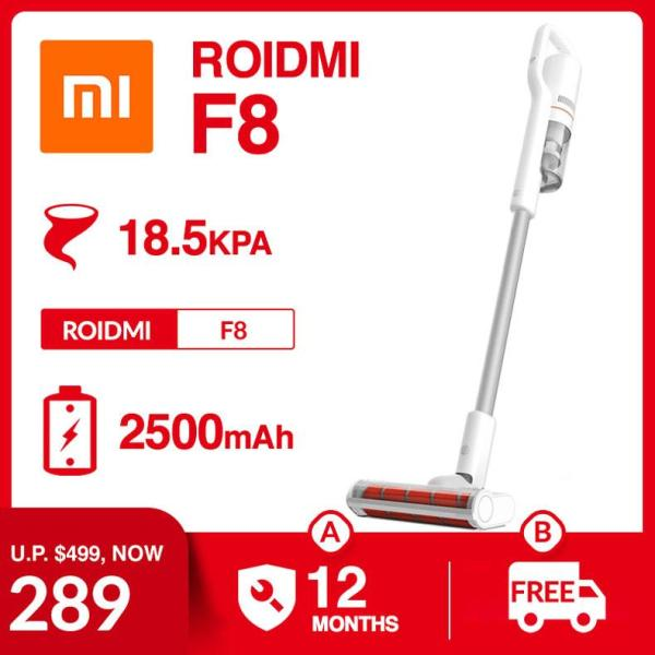 Xiaomi Roidmi F8 Storm Cordless Vacuum Cleaner 18.5KPa 55mins Mite Killer Brush Soft Backlight LED Floor Brush Portable Car Vacuum Compatible with Robotic Robot Cleaner Singapore