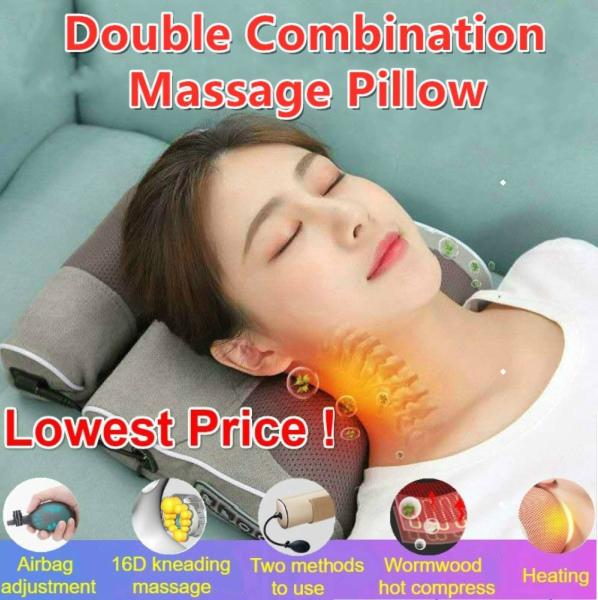 Buy 🎄Christmas Gift🎄Double Combination Wormwood Neck Shoulder Back Massager Pillow Electrical Shiatsu head Massage Osim Singapore