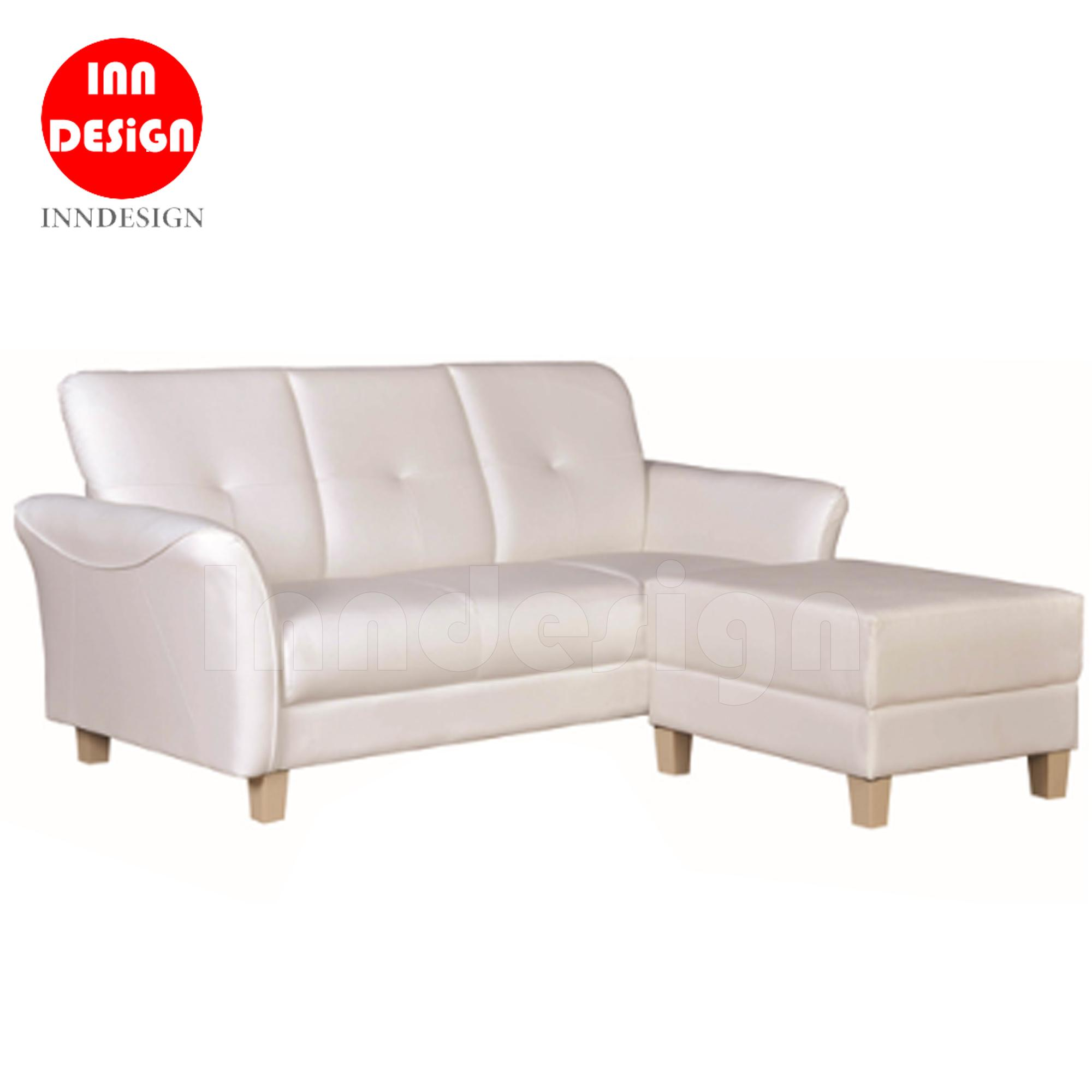 Henrick 3 Seater PVC Sofa with Stool