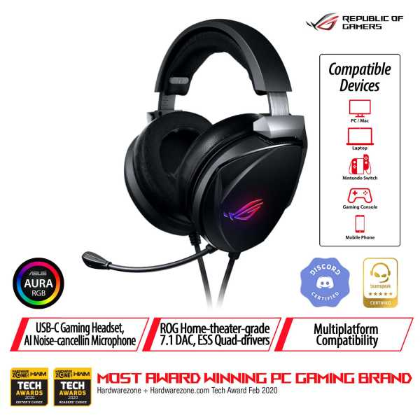 ASUS ROG THETA 7.1 USB-C gaming headset with 7.1 surround sound, AI noise-cancelling microphone, ROG home-theater-grade 7.1 DAC, ESS quad-drivers for PC, PS4, Nintendo Switch and smart devices.