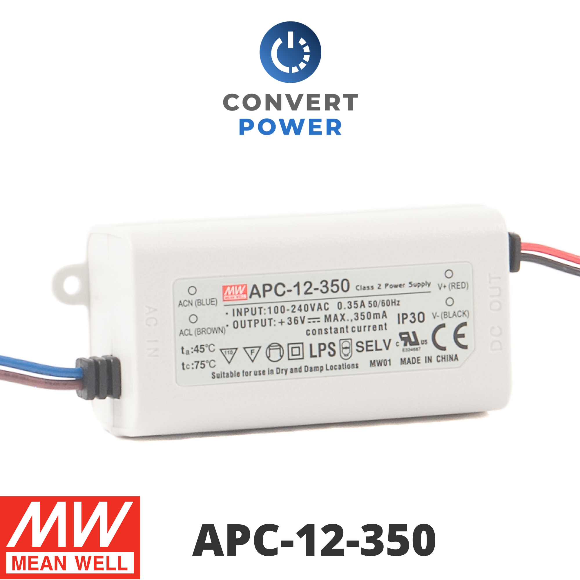 LED power supply 35W 11-33V 1050mA ; MeanWell APC-35-1050 ; Constant current