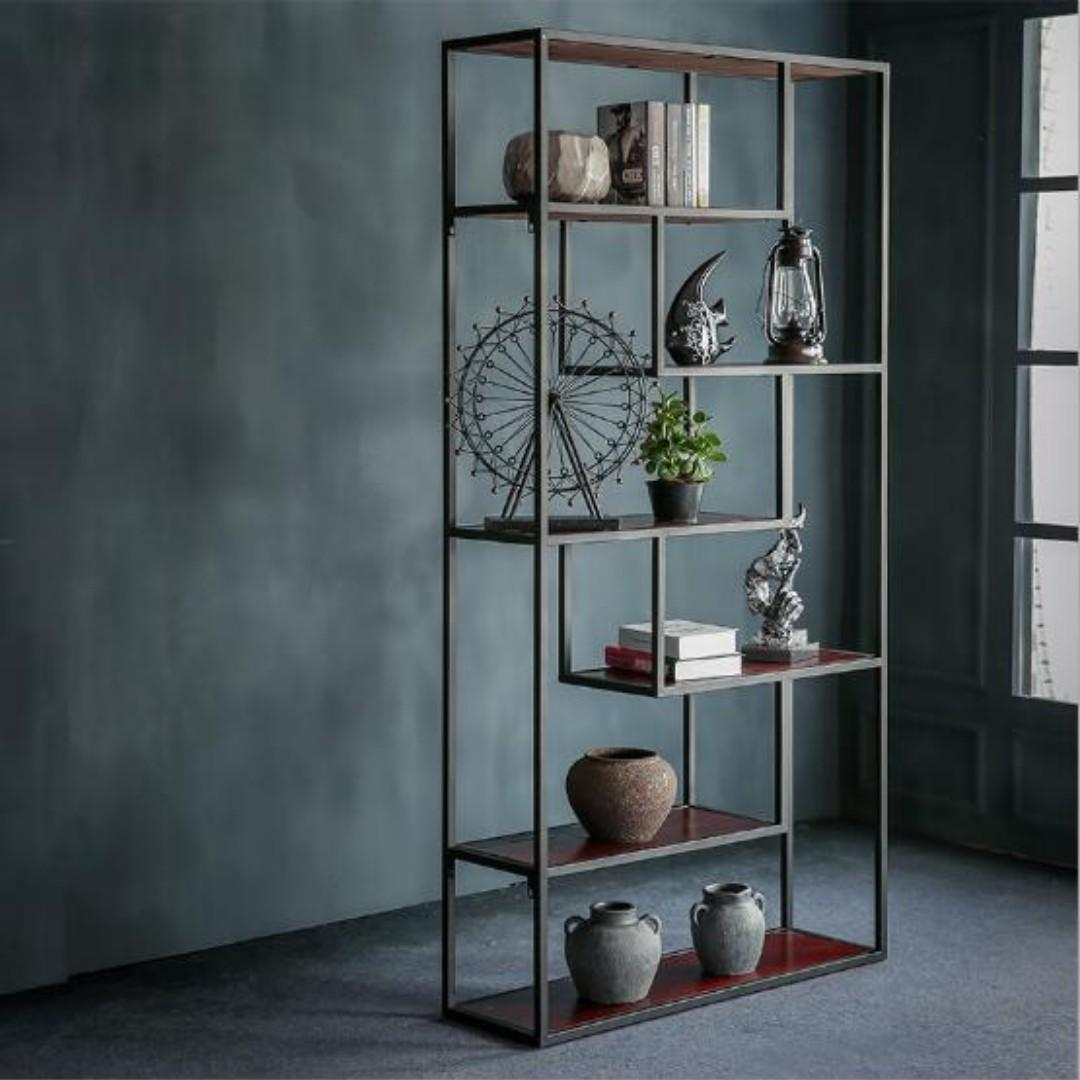 Pre order E105 Industrial Retro Solid Wood Display Shelves rack(  L80*W35*H180cm)