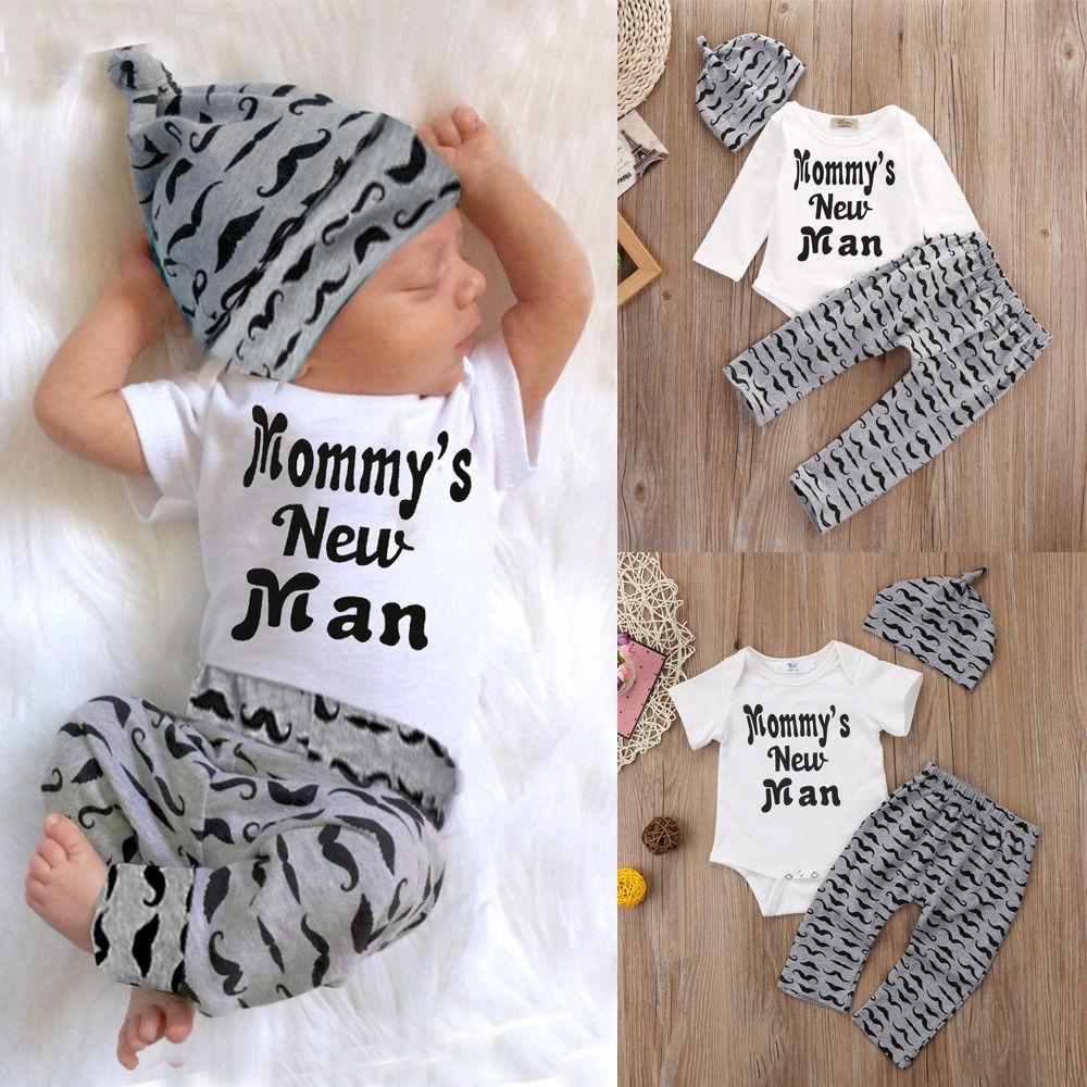 Newborn Infant Baby Boy Cotton Tops Romper+pants Legging+hat Outfits Clothes Set - Intl By Amazingly.