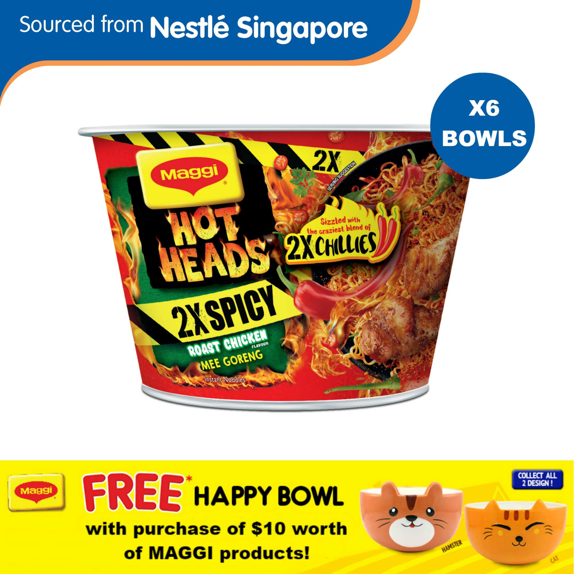 (bundle Of 6) Maggi Hot Heads Bowl Noodles - 2x Spicy Roast Chicken + Free Maggi Happy Bowl (random) By Nestle Official Store