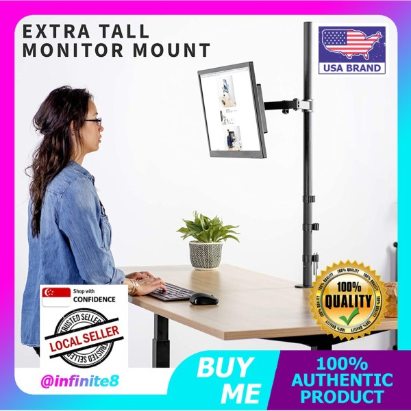 VIVO USA Extra Tall Single Monitor Desk Mount Stand with 39 inch Stand-up Pole | Fully Adjustable Extended Arm
