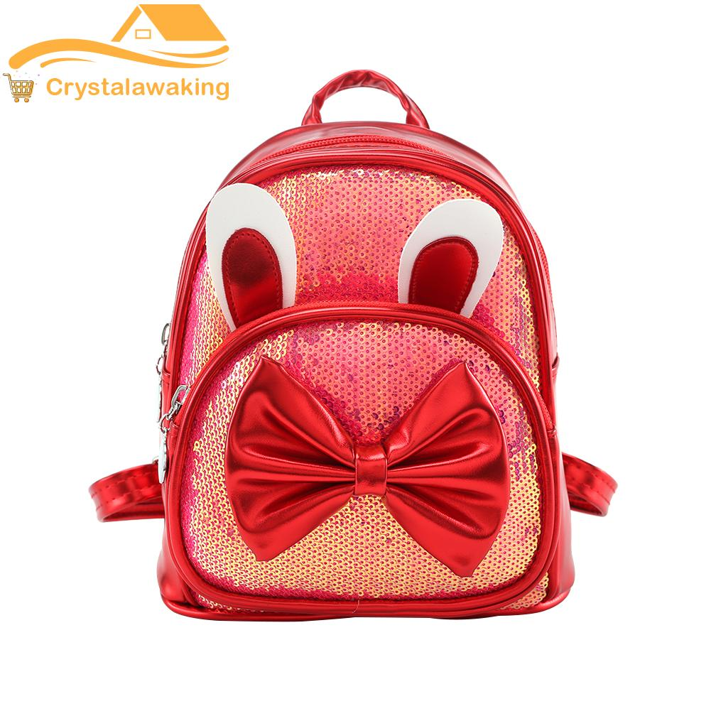 Cute Bowknot Rabbit Ear Travel Backpacks Kids Girls Leather Sequin Knapsack