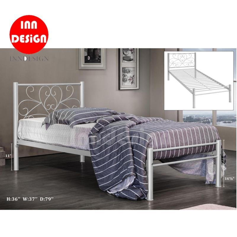 Single Metal Bed / Metal Bed Frame (Silver)