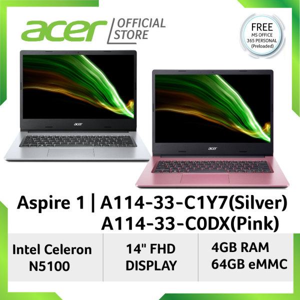 [Latest Model] Acer Aspire 1 A114-33-C1Y7 / C0DX 14 FHD Light Weight Laptop With Preloaded 1 Year Microsoft Office 365 Personal