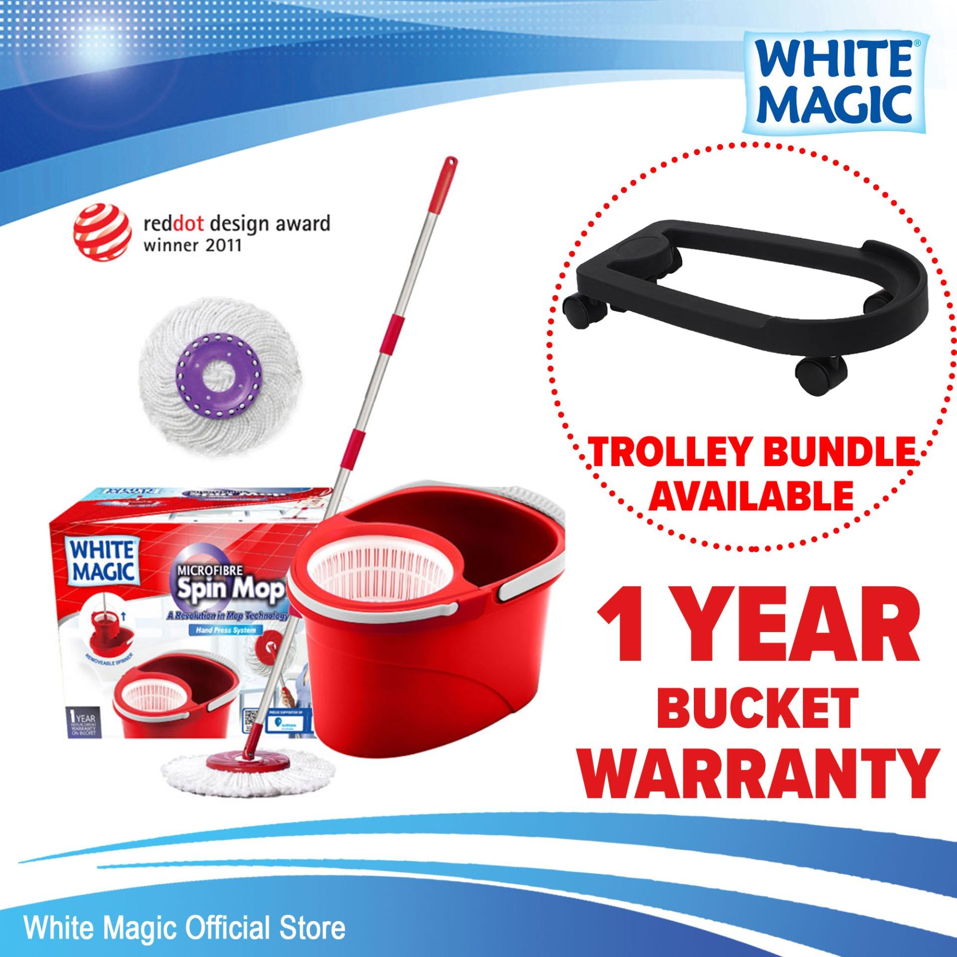 White Magic Hand Press Spin Mop Set (with 2 Free Mop Heads) / Trolley Bundle (add-On Available) / 1 Year Bucket Warranty By White Magic Official Store.