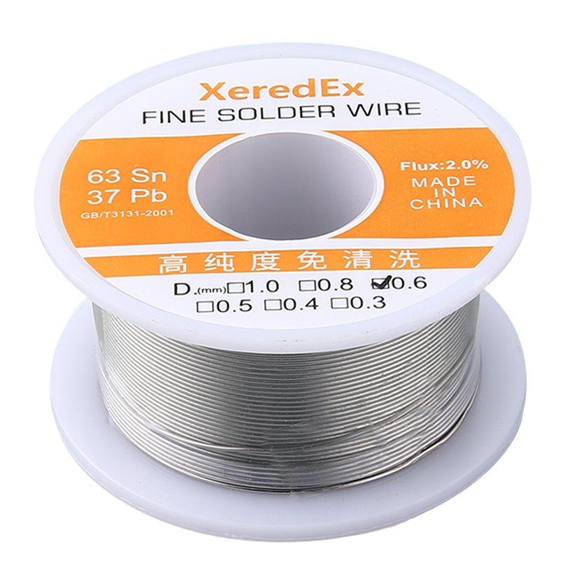 TOP(Clearance SALE)XeredEx 0.6mm 2% Flux Tin Lead Rosin Silver Solder Wire Roll Core Welding Soldering Repair Tool Reel Melt Kit 63% Sn